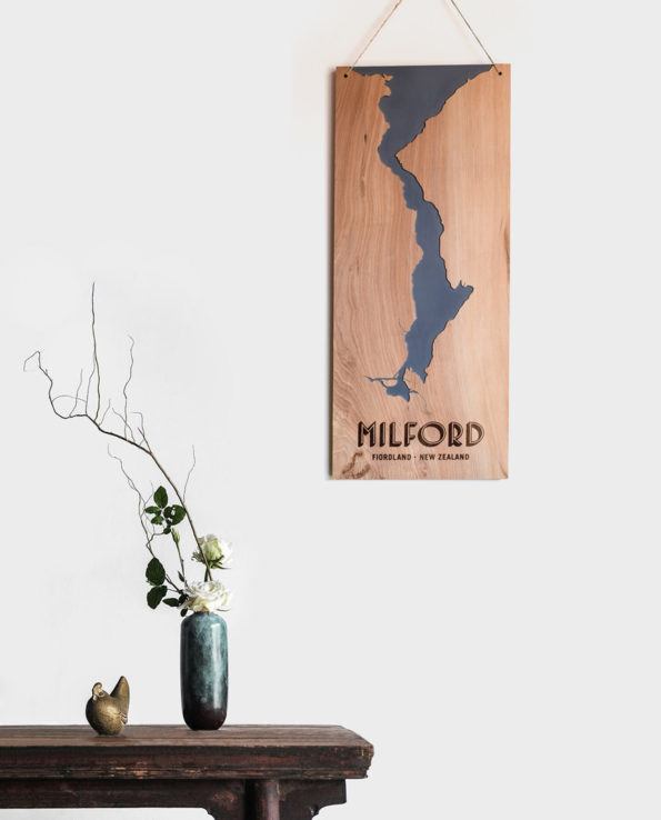 Milford Sound Vintage Reclaimed Timber Carved Art Wall Hanging