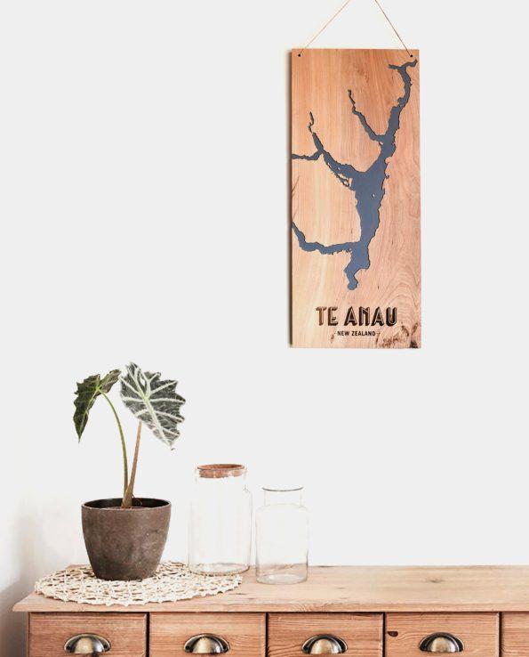 Lake Te Anau, New Zealand, Reclaimed Timber Carved Art Wall Hanging